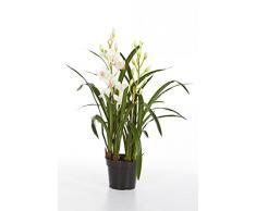 Orquídea Cymbidium artificial en maceta, 2 ramas, blanco, 80 cm - Planta decorativa / Flor sintética - artplants