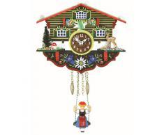 """ISDD Kuckulino Black Forest TU 2003 SQ - Reloj cucú en miniatura con movimiento de cuarzo y llamada del cucú, diseño """"Caza suiza"""", multicolor, batería incluida"""