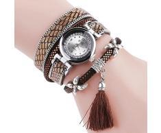 HARRYSTORE Moda Mujeres Niñas Analog Quartz reloj de pulsera señoras vestido pulsera con borlas Relojes CCQ (Café)
