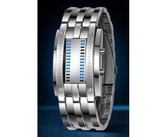 Reloj de pulsera para hombre, binario, a prueba de golpes, militar, correa de acero inoxidable, con 28 luces LED para la fecha y la hora, Men Silver