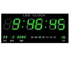 Reloj Reloj Digital LED Reloj De Cuarzo Digital Fecha Temperatura Bar Cafe Kiosko XL Verde