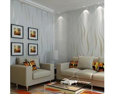 Hanmero Papel pintado extra grueso, no tejido, flocado, 3D diseño, plata gris, 0,53 m x 10 m