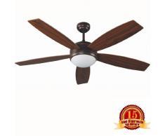 Ventilador de techo con luz VANU FARO 33314 5 palas de madera accionado por mando a distancia incluido