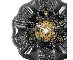 Alienwork Retro Reloj mecánico de bolsillo esqueleto remonte grabado Metal negro negro W891-03