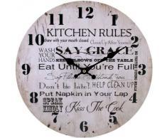 """Elements 35123 - Reloj de pared para cocina de 34 cm, tamaño grande, con inscripción en inglés """"Kitchen rules"""""""