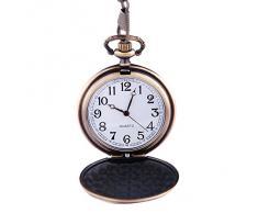 Reloj de Bolsillo de Cuarzo con Motivo de Herradura de Bronce, Números Arábigos y Cadena Total Hunter de Diseño Vintage PW-25