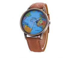 LILICAT Hombres mujeres reloj mapa mundial de diseño análogo cuarzo vida impermeable reloj (Café)