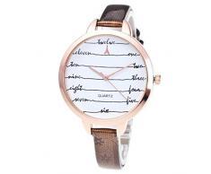 HARRYSTORE Moda de lujo de las mujeres analógico reloj de cuarzo reloj de pulsera de cuero Rhinestone (café)