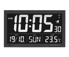 TFA - 60.4505 - Reloj de pared digital con termómetro y calendario, 8 idiomas, color negro