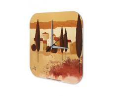 Reloj De Pared Gira Mundial Marke Pintura pueblo ciudad Plexiglas Imprimido 25x25 cm