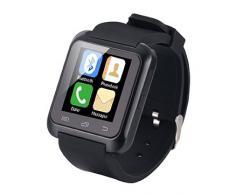 [Regalos de San Valentín] EasySMX Bluetooth 4.0 Multi-idiomas Reloj Inteligente Smartwatch Podómetro/ Monitor de Sueño/ Alarma/ Calendario con la Pantalla Táctil Compatible con Android Smartphones como Samsung, HTC, Sony, Huawei (Negro)