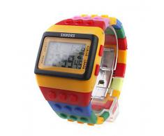 Sidiou Group Multi-Color Brick Block Style reloj de pulsera con luz de noche LED - Amarillo
