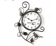 Reloj de pared de metal efecto envejecido estilo vintage - Decoración con encanto: pájaro y naturaleza.