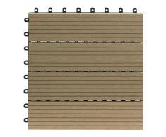 EVERFLOOR WPC marca Gartenfreude (= madera / mezcla de plástico) baldosas de patio perfil macizo color teca, 10 piezas, 30 x 30 cm (aprox. 0,9m2)