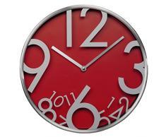 Hama AG-300 - Reloj de pared (AA, Rojo, Plata, Aluminio, Vidrio, 4,3 cm, 615g)