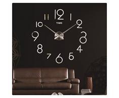 Ularma 2016 Reloj de pared bricolaje decoración 3D espejo grande arte diseño (plata)