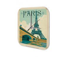 Reloj De Pared Gira Mundial Marke ParÌs Francia Torre Eiffel Seine Puente Plexiglas Imprimido 25x25 cm