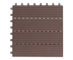 EVERFLOOR WPC 4600-1000-003 - Baldosas de patio perfil macizo color teca, 10 piezas, 30 x 30 cm (aprox. 0,9m2)