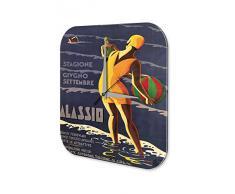 Reloj De Pared Gira Mundial Marke Mujeres del traje de baÒo de la playa de Alassio bola Plexiglas Imprimido 25x25 cm
