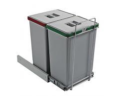 Elletipi PF01 44B2 Ecofil - Cubo de basura de reciclaje con base diferenciada, extraíble, de plástico y metal, gris, 30 x 45 x 46 cm