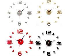FEITONG Acrílico bricolaje auto-adhesivo de la pared interior Reloj creativo decoración Silencio (oro)