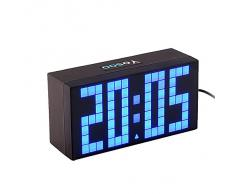 Yosoo 4 Dígitos Versión Digit Jumbo LED Snooze Pared Calendario de Escritorio Alarma Reloj Digital Electronic Time Block(Azul)