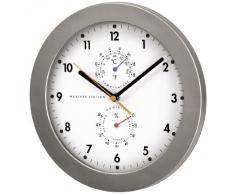 Hama PG-300 - Reloj de pared (AA, Plata, Color blanco, De plástico, Vidrio, 30 cm, 4.8 cm)