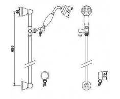 Hudson Reed - Conjunto de Ducha Tradicional con Llave Mezcladora Empotrada - Latón Cromado - Set con Barra de Ducha & Telefonillo Retro - Detalles Cerámicos