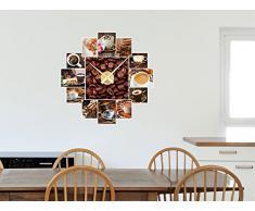 Pegatinas de pared para el movimiento Reloj para Cocina Los granos de café (Tamaño=58x57cm//Color=Plata cepillada)