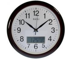 Reloj de pared analógico-digital Color madera Calendario y temperatura. Movimiento continuo, no hace TIC-TAC Mod.7529