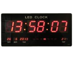 Reloj de pared digital LED Cuarzo Fecha temperatura Bar Cafetería Kiosko XXL