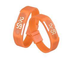 Sannysis® Goma Reloj LED Fecha Deportes pulsera; Digital reloj de pulsera - naranja