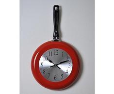 Kitchen reloj de pared sartén 43 x 26 cm), color rojo, gris y negro