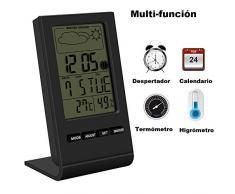 VersionTech Multifuncional Termómetro e Higrómetro Digital Con Pantalla LCD Medidor Temperatura y Humedad con Alarma Reloj Ideal para Casa Cocina Almacén Ambientes Sensibles