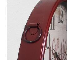 Perla PD Diseño Metal Reloj de pared con cristal vintage diseño café Atlantique con cordón rotbraun lacado aprox. Diámetro 48 cm