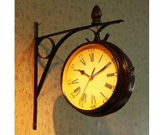 Reloj De Pared Soporte Montaje En Interior Y Exterior para Doble Cara Reloj De Pared Estación De Tren Jardín Reloj Decoración De La Pared 32X33cm
