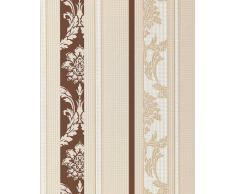 EDEM 053-23 Papel pintado diseño barroco damasco rayas ornamentos relieve flock marrón chocolate beige blanco
