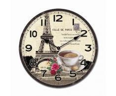 RELOJ DE PARED DISENO CAFE PARIS DECORACION TORRE EIFFEL 30CM MODERNO - Tinas Collection