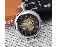 AMPM24 Reloj de bolsillo, Mecánico, Analógico, Caja Plateada WPK023