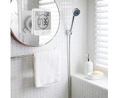 Suhey LCD Reloj de Ducha Digital, Reloj de baño Reloj de Ducha Impermeable Reloj Temporizador Temperatura Humedad Pared Ducha Reloj Reloj Temporizador de Cocina (Azul)