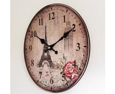 Perla PD Diseño reloj de pared Reloj de cocina vintage diseño Torre Eiffel Rose, aprox. 28 cm de diámetro