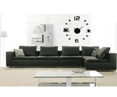 WINWINTOM Acrílico bricolaje auto-adhesivo del reloj de pared interior (Negro)
