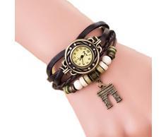 Demarkt muñeca Retro Girls Reloj Wrap Arco Triunfal pendiente de las mujeres del reloj del cuarzo de la pulsera (Café)