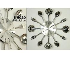 DonRegaloWeb - Reloj de cocina - Reloj de pared de metal decorado con utensilios de cocina en color metálico.