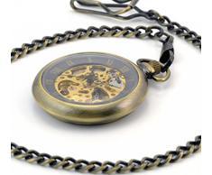 Infinite U Sin tapa Números Romanos Hueco Esqueleto Acero Mano-viento Reloj de bolsillo mecánico Bronce