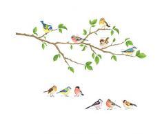 DECOWALL DS-8036 Pájaros del jardín Vinilo Pegatinas Decorativas Adhesiva Pared Dormitorio Salón Guardería Habitación Infantiles Niños Bebés (Pequeño)