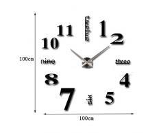 Gearmax® DIY Reloj de pared extraíble creativo de vidrio acrílico del efecto de espejo para la decoración del hogar(Negro)