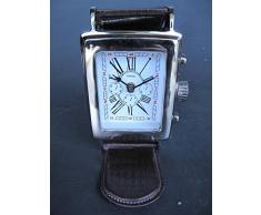 Reloj De Mesa (Reloj de pulsera) aluminio niquelado h.18 X 12 cm