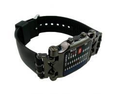 E9Q Mens Casual Fashion LED Luz indicadora binario Negro Fecha reloj del deporte