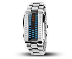 oumosi 3d especular binario LED electrónico reloj resistente al agua relojes de pulsera para amante, Plateado, large